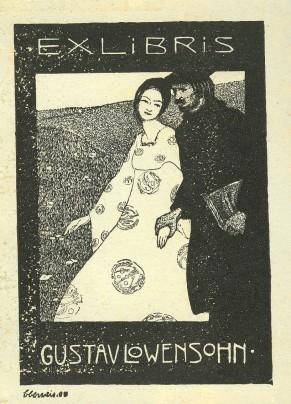 Exlibris von Benno Berneis für seinen Freund Gustav Löwensohn 1908