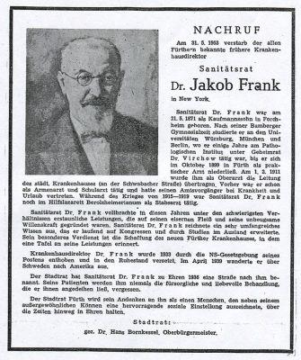 Nachruf Dr. Jakob Frank