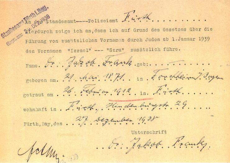 Namenszusatz Dr. Jakob Frank 1938