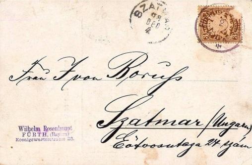 Rückeite der Postkarte mit dem Stempel von Wilhelm Rosenhaupt