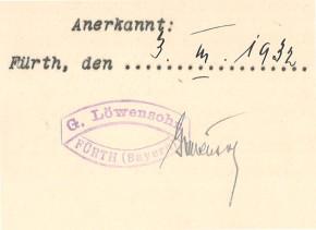 Alter Firmenstempel auf einem Vertrag vom 3. März 1932 (→Archiv FürthWiki e. V.)