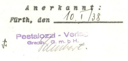 Neuer Firmenstempel auf einem Vertrag vom 10. Januar 1938 (→Archiv FürthWiki e. V.)