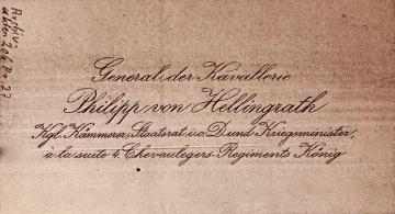 Visitenkarte im Besitz des Bayerischen Kriegsarchivs in München